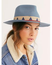 Free People Venice Fedora By Brixton - Blue