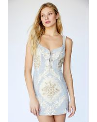 f277236c022f0 Free People - Brocade Tapestry Mini Dress By For Love   Lemons - Lyst