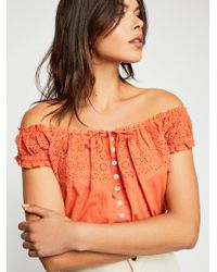 Free People - Eyelet You A Lot Top - Lyst