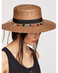 Free People - Tiki Ti Embroidered Straw Boater - Lyst