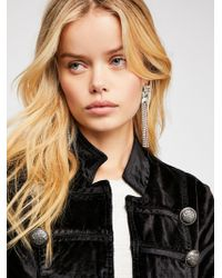 Free People - Fitted Velvet Military Jacket - Lyst