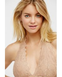 Free People - Galloon Lace Halter Bra By Intimately - Lyst