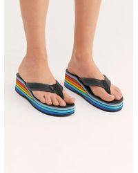 Free People - Rainbow Wedge Thong Sandal - Lyst