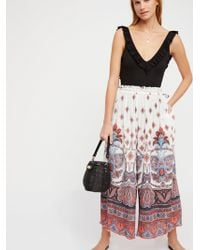 Free People - Gold Dust Printed Wide Leg Trousers - Lyst