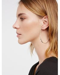 Free People - Black Magic Stone Front Hoops - Lyst