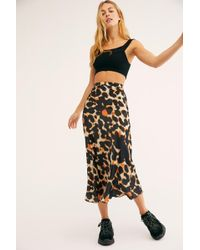 Free People - Kendall Satin Midi Skirt - Lyst