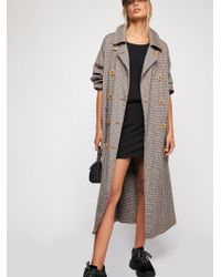 Free People - Melody Plaid Trench Coat - Lyst