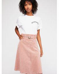 Free People - Belt It Up Cord Midi Skirt - Lyst