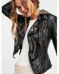 Free People - Vegan Leather Hooded Biker Jacket - Lyst