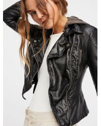 Free People - Vegan Leather Hooded Jacket - Lyst