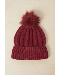 French Connection - Faux Fur Pom Beanie Hat - Lyst