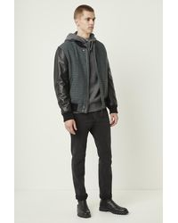French Connection Houndstooth Wool And Leather Bomber Jacket - Black