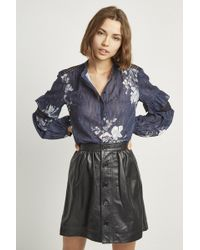 French Connection - Adela Leather Gathered Waist Skirt - Lyst