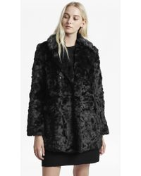 French Connection - Nariko Faux Fur Double Breasted Coat - Lyst