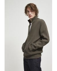 French Connection - Fishermans Rib Zip Through Jumper - Lyst