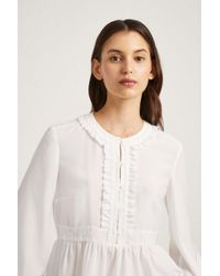French Connection - Crepe Light Lace Blouse - Lyst