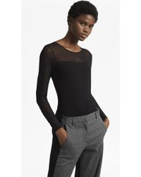 French Connection - Allie Long Mesh Sleeved Bodysuit - Lyst