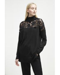 French Connection - Nadia Lace Knit High Neck Jumper - Lyst
