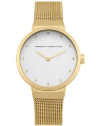French Connection - Gold Mesh Strap Watch - Lyst