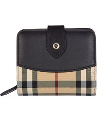 Burberry - Wallet Genuine Leather Coin Case Holder Purse Card Bifold Horseferry Check - Lyst