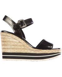 Prada - Zeppe sandali donna in pelle corda - Lyst