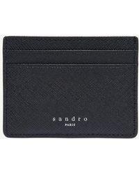 Sandro Porte-cartes en cuir - Noir