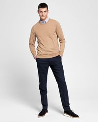 fd3b00f8b9655a GANT Cotton Cable Crew Neck in Natural for Men - Lyst