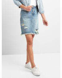 Gap - 5-pocket Denim Pencil Skirt In Distressed - Lyst