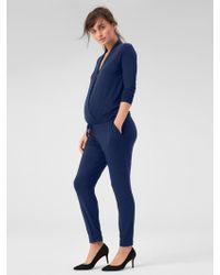 d534c7421c3 Lyst - Gap Three-quarter Length Sleeve Tie-waist Jumpsuit in Blue