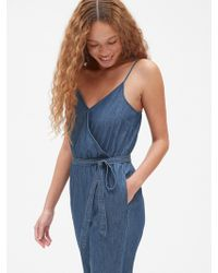 efc46ffba908 Lyst - Gap Tenceltm Denim Tank Jumpsuit in Blue