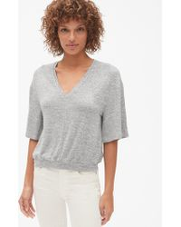 ce9efda770d0c Lyst - Gap Softspun Ribbed Cold-shoulder Top in Gray