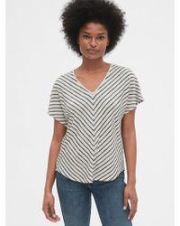 Gap Softspun Stripe Flutter Sleeve V-neck Top - Multicolor
