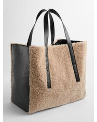 Gap - Faux-shearling Oversize Tote - Lyst