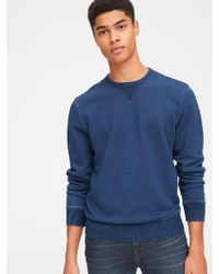 Gap - Indigo Crewneck Pullover Sweatshirt In French Terry - Lyst