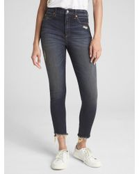 Gap - High Rise True Skinny Ankle Jeans With Distressed Detail - Lyst