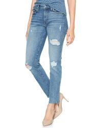 GAP Factory - High Rise Destructed Slim Straight Jeans With Raw-hem - Lyst
