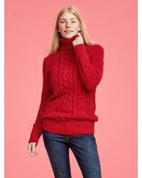 GAP Factory - Cable-knit Turtleneck Pullover Sweater Tunic - Lyst
