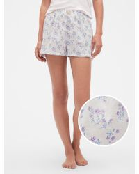 10ce9aac6423 Lyst - GAP Factory Print Sleep Shorts in Pink