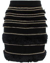 Balmain - Ruffle Panel Piping Skirt Black/gold - Lyst