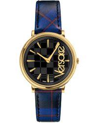 Versace - Women's V Circle Clans Watch Tartan/gold/black - Lyst
