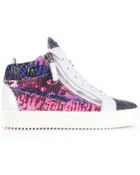 Giuseppe Zanotti - Kriss Multi Python Mid-top Sneakers Multi/white - Lyst