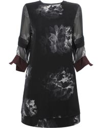 Paul Smith | Dual Layer Silk Floral Dress Black | Lyst