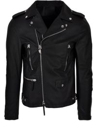 15b9831cee9a3 Giuseppe Zanotti - Contrast Panel Leather Jacket Black white - Lyst