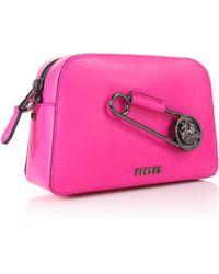 Versus - Safety Pin Logo Strap Bag Fuchsia/gunmetal - Lyst