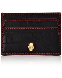 Alexander McQueen - Embossed Croc Card Holder With Skull Black/red - Lyst