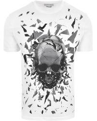 a1b3f482 Alexander McQueen - Shattered Glass Skull T-shirt White/mix - Lyst