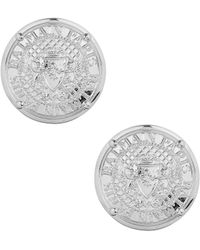 Balmain - Medallion Earrings Palladium - Lyst