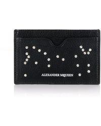 Alexander McQueen - Studded Skull Vertical Card Holder Black - Lyst