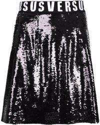 Versus - Sequin Glitter Mini Skirt Black - Lyst