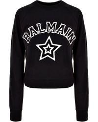 Balmain - Star Logo Baseball Sweater Black/white - Lyst